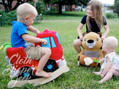 Two adorable RockAbye rockers - the firetruck and Buckee the Beaver #toddler…