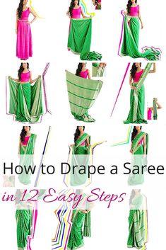 12 Easy Steps to Drape Bollywood Sarees - Saree Styles Bollywood Saree, Mode Bollywood, Bollywood Outfits, Bollywood Fashion, Saree Wearing Styles, Saree Styles, Costume Femme Diy, Saris, Indian Dresses
