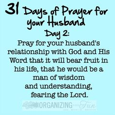 31 Days of Prayer for your husband - Day 2:: OrganizingMadeFun.com