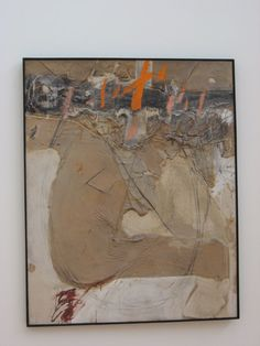 tapies - Body of Matter and Orange Marks, 1968, Mixed media on canvas, 63 3/4 x 51 1/4 inches