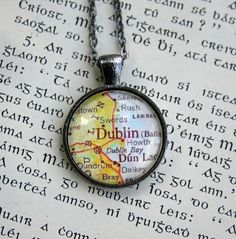 Dublin Irish Map Necklace, by CrowBiz on Etsy  Going to Ireland in a few weeks!  I want to do this with every place I've been.
