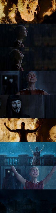 V for Vendetta - cinematography V For Vendetta 2005, V Pour Vendetta, V For Vendetta Evey, V For Vendetta Movie, Natalie Portman, The Fifth Of November, Light Film, Movie Shots, Film Inspiration