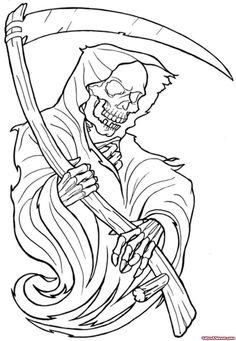 Attractive Outline Grim Reaper Tattoo Design