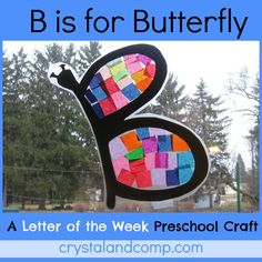 letter of the week preschool craft B is for butterfly  (butterfly template included as well as a list of B books to read)