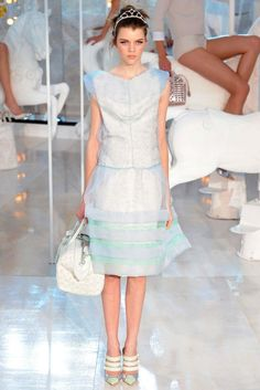 Whimsical and Dreamy Blue Tea-Length Dress with Sheer Overlay | http://brideandbreakfast.ph/2011/10/07/fashion-friday-louis-vuitton-springsummer-2012/ | Designer: Louis Vuitton