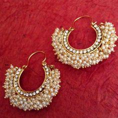 Chandni stones golden finish ethnic bali hoop Indian ethnic jewelry earring v743 #ADIVA