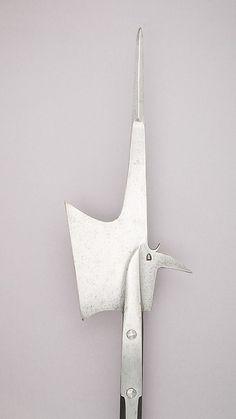 Halberd Date: ca. 1470 Culture: Swiss Medium: Steel, wood, iron Dimensions: L. 8 ft. 10 in. (269.1 cm); L. of head 24 1/2 in. (62.2 cm); W. 10 3/8 in. (62.2 cm); Wt. 5 lbs. 12 oz. (2610 g)