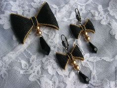 Купить Брошь-бант в золоте - брошь, брошь-бант, бантик, подвески, брошь с подвеской, украшения