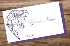 Poinsettia flower place card template by WeddingTemplatesHub