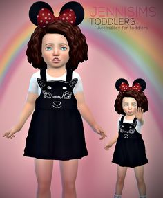 Jennisims: Downloads sims 4:Accessory Toddlers Minnie Mouse Ears Toddler Cc Sims 4, Sims 4 Toddler Clothes, Sims 4 Mods Clothes, Sims 4 Clothing, Sims Mods, Toddler Girl Outfits, Kids Outfits, Sims 4 Cc Skin, Sims Cc