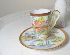 Japanese cup hand painted cup Asian art by Sweetlakevintage, $29.00