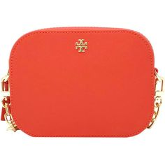 Tory Burch Robinson Round Leather Crossbody (10.370 RUB) ❤ liked on Polyvore featuring bags, handbags, shoulder bags, equestrian orange, leather crossbody purse, red crossbody, crossbody purse, tory burch handbags and leather handbags