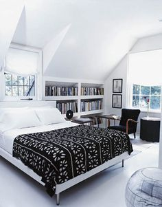 Great bookcase next to the dormer window.