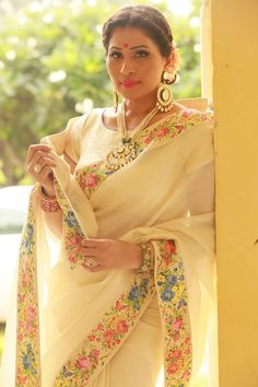 Off white sari with a french provincial floral border