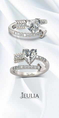 """""""The Arrow of Cupid"""" Heart Cut Created White Sapphire Rhodium Plated Sterling Silver Women's Ring #Jeulia"""