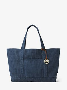 $138 Extra-Large Denim Tote by Michael Kors