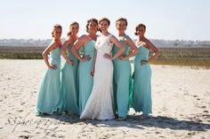 The beautiful Bride and her sweet maids are featured in Allure gowns.