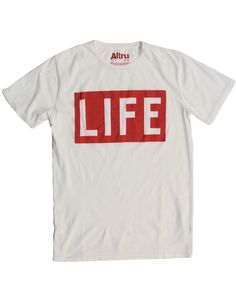 The LIFE Magazine Flagship red and white logo from our LIFE Magazine collection. A true classic! - Screen printed on front Short sleeve tee shirt - 100% combed ring-spun cotton - Rib collar. Neck and