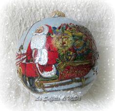 Palla di Natale in ceramica slitta di babbo natale