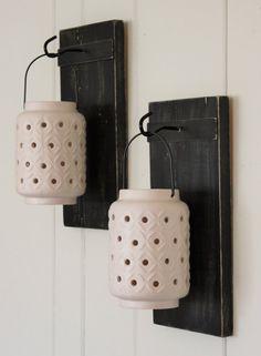 Two Hanging lanterns on rustic reclaimed wood by NowPaintedandNew