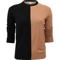 MICHAEL KORS Long Sleeve Colorblock Crewneck ($290) ❤ liked on Polyvore featuring tops, sweaters, shirts, blusas, long-sleeve shirt, crew-neck shirts, merino shirt, merino wool sweater and michael kors sweaters