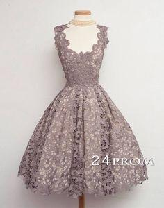 A-line Lace Short Prom Dresses, Bridesmaid Dress – 24prom