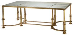 Cocktail table with wrought iron base in antiqued 23k gold finish with segmented antiqued mirror top by Ebanista