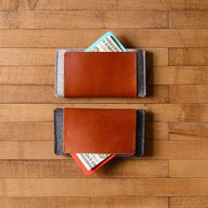iPhone Wallet Wool Felt and Brown Leather by byrdandbelle on Etsy, $36.00