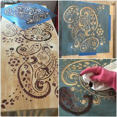 Painted with Paisley Stencil. IKEA Desk Makeover Using Stencils - iSaveA2Z.com