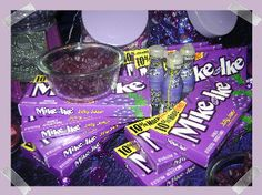 Purple party.. paper plate banner.. purple candy- pixi sticks, push pops, pretzel sticks, mike and ike, chocolate covered strawberries