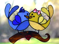 Adorable Stained Glass Love Birds Suncatcher, Whimsical Bird Window Hanging, Sweetheart Gift, Anniversary, Glass Bird Sun Catcher, Wedding