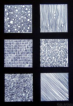 What to do with students visual texture explorations/practice sheets? I like this display ---Texture lesson. Medium: indian ink and dip brush. Principles Of Design, Elements Of Design, Art Elements, Drawing Lessons, Art Lessons, Doodle Drawing, Drawing Art, Texture Drawing, Texture Sketch