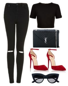 Untitled #353 by lionessrose ❤ liked on Polyvore featuring Topshop, Ted Baker, Christian Louboutin and Yves Saint Laurent