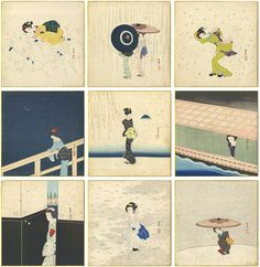 by Komura Settai / 虫、春雨、筑波、夜雨、河岸、月かげ、雪兎、もみじ他 小村雪岱 Japanese Prints, Japanese Art, Geisha, Woodblock Print, Asian Art, Printmaking, Print Patterns, Illustration Art, Kids Rugs