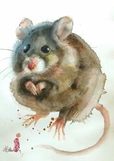 "Saatchi Art Artist Marie-Helene Stokkink; Painting, ""Another mouse"" #art"