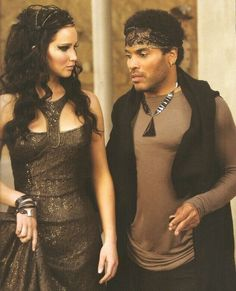 Katniss & Cinna in Catching Fire chariot presentation dress: Jennifer Lawrence and Lenny Kravitz. Hunger Games