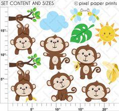 Funky Monkey Clipart and Digital paper set por pixelpaperprints