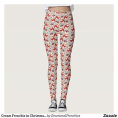 Cream Frenchie in Christmas Sweater Leggings