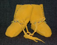 Golden Suede Leather Moccasin Baby Booties with by KMHanksArt, $35.00