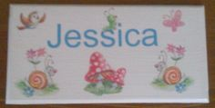 Personalised childs bedroom door sign toadstools and butterflies Bedroom Door Signs, Bedroom Doors, Door Plaques, Wooden Plaques, Personalized Plaques, Childrens Gifts, Kids Bedroom, Butterfly, Handmade Gifts