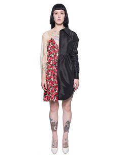 Half floral dress, half long black shirt dress from Les Animaux featuring a sheer panel and sleeve connecting the shirt half to the dress half with a zipper up the back for easy wear.  Measurements: Item fits true to size. Models Measurements: Height (cm): 171 Bust/Chest (cm): 82.55 Waist (cm): 64.8 Hips (cm): 90.17 Model is wearing size: M  Item ID: LES201701001 Composition: 100% Cotton Fabric 2; 100% Polyester Fabric 3; 92% Polyester, 8% Spandex WASHING INSTRUCTIONS: DRY CLEAN ONLY ...