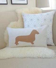 Illustrated long Dashund polycotton cushion with handmade pom pom