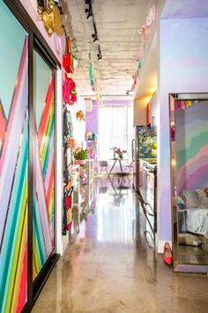 House Tour: Studio Mucci, The Most Colorful Apartment in the World | Apartment Therapy Apartment Entryway, Apartment Goals, Apartment Therapy, Apartment Ideas, Rainbow House, Rainbow Room, Rainbow Brite, Colorful Apartment, Small Room Design
