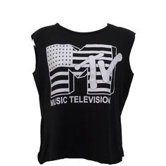 LADIES MTV MUSIC TELEVISION PRINT SLEEVELESS CROP TOP WOMEN CROPPED T... (110 ARS) ❤ liked on Polyvore featuring tops, shirts, t-shirts, tank tops, sleeveless crop top, cut-out crop tops, print top, cropped tops and print shirts