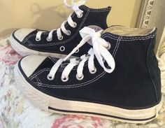 Kid's CONVERSE All Star Chuck Taylor Black High Top Lace Up Sneakers Size 11 #Converse #FashionSneakers
