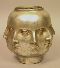 Fornasetti-style Multi Face Vase. Silver Leaf Finnish Vase with many faces.