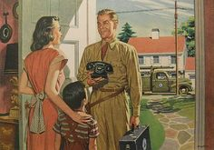 1940s BELL TELEPHONE COMPANY vintage advertisement illustration man in uniform woman child by Christian Montone, via Flickr