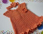 24 mo baby dress crochet   Crocheted Baby Girl Cotton Dress and Headband READY TO SHIP Size 12 ...