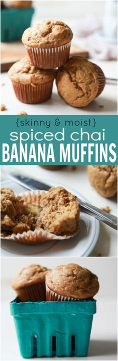 Spiced Chai Banana Muffins with a secret ingredient for an extra nutritional boost. These muffins are butter free, refined sugar free, crazy moist, and absolutely delicious. You and your kids will fall in love! | joyfulhealthyeats.com