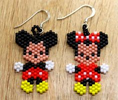 Mickey and Minnie Mouse Earrings - Mickey Mouse Earrings - Minnie Mouse Earrings - Seed Bead Mickey and Minnie Mouse Earrings Beaded Earrings Patterns, Seed Bead Patterns, Beading Patterns, Mickey Mouse Earrings, Seed Bead Crafts, Beaded Banners, Crochet Flower Tutorial, Brick Stitch Earrings, Beadwork Designs